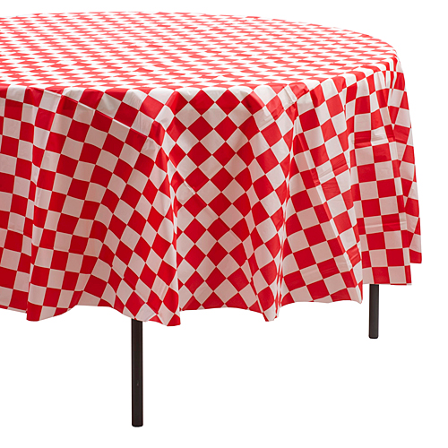 Huis 2 pieces Red and White Gingham table cover tablecloth plastic 84 round