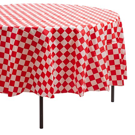 red & white round checkered table - Checkered Table Covers