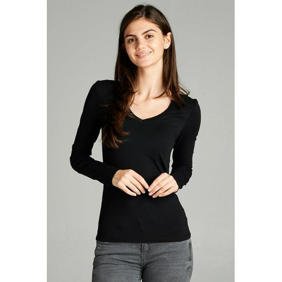 b4e14f636f3 Emmalise - Emmalise Women s Casual Basic V-Neck Tshirt Long Sleeves ...
