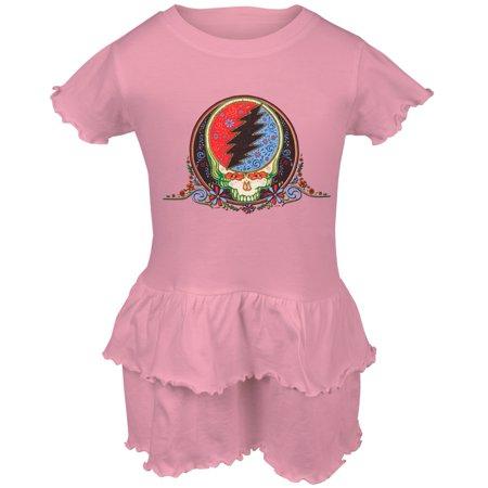 Grateful Dead - Calaveras Light Pink Toddler Ruffle Dress - Day Of The Dead Dresses