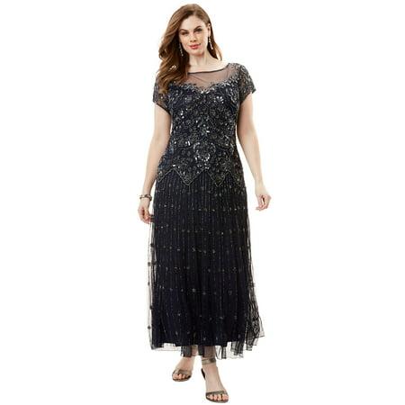1f42d784be6 Roamans - Plus Size Lllusion Beaded Mesh Dress By Pisarro Nights -  Walmart.com