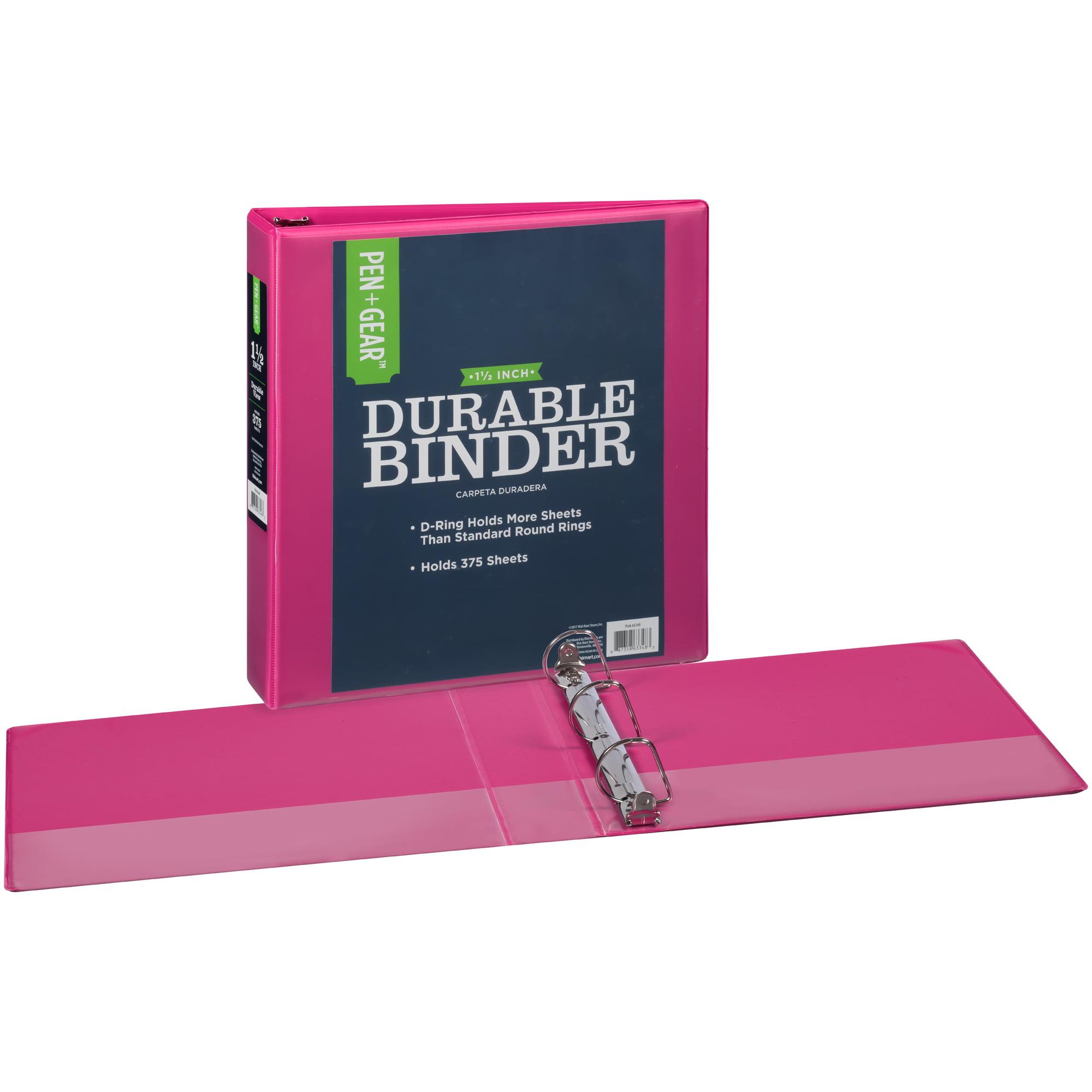 pen gear durable view binder 1 5 inch slant d rings pink