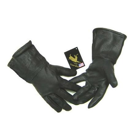 Northstar Mens Black Deerskin 4 Inch Gauntlet Gloves, Fleeced Lined Biker 317B](Gaunlet Gloves)