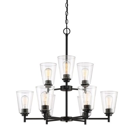 Designers Fountain-95789-MB-Westin - Nine Light Chandelier  Matte Black Finish with Clear Glass Nine Light Chandelier Matte