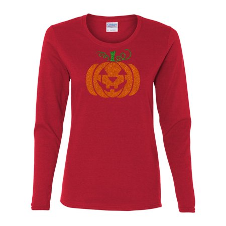 Glitter Jack O' Lantern Pumpkin Womens Long Sleeve - Nature Center Long Beach Halloween
