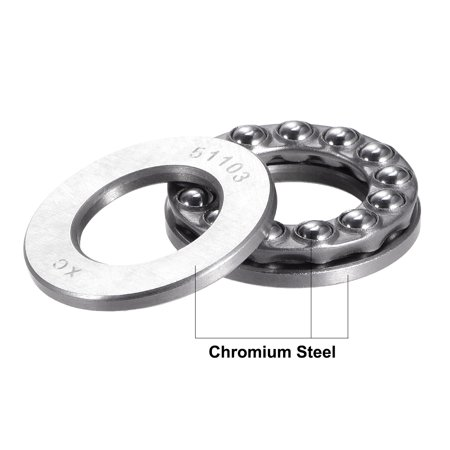 51103 Single Direction Thrust Ball Bearings Flat Seat Chromium,17x30x9mm 2pcs - image 3 of 4