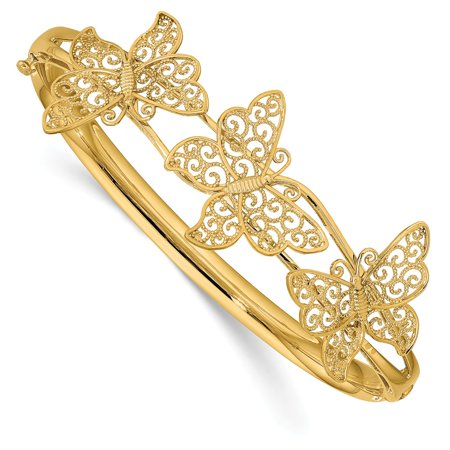 Roy Rose Jewelry 14K Yellow Gold Butterfly Bangle Bracelet ~ Length '' inches 14k Gold Butterfly Bracelet