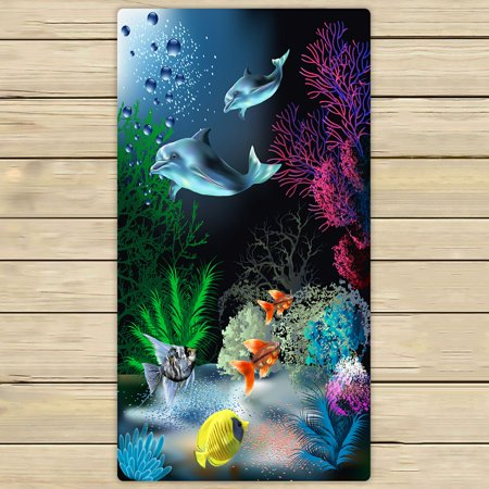 PHFZK Cute Animal Towel, The Underwater World with Dolphins and Plants Hand Towel Bath Bathroom Shower Towels Beach Towel 30x56 inches