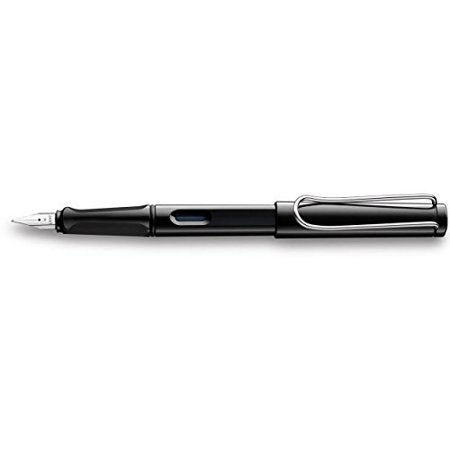 LAMY Safari Classic Fountain Pen With A Polished Stainless Steel Fine Point Nib, Ink Level Window & Flexible Clip, Shiny Black (L19BKF)](mont blanc classic fountain pen)