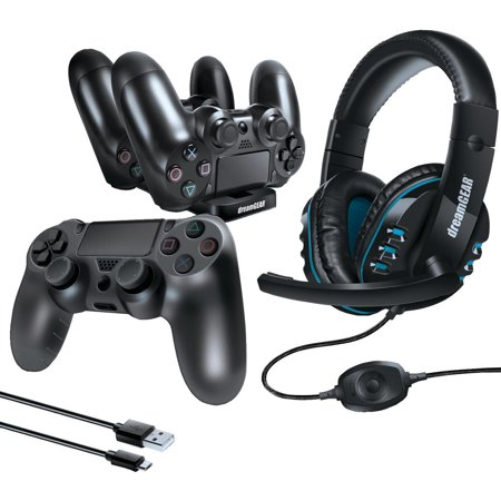 Charge Glow Starter - dreamGEAR PlayStation 4 Advanced Gamer's Starter Kit - Headset, Charging Dock, USB Charge Cable, Controller Cover & Joystick Caps for PS4