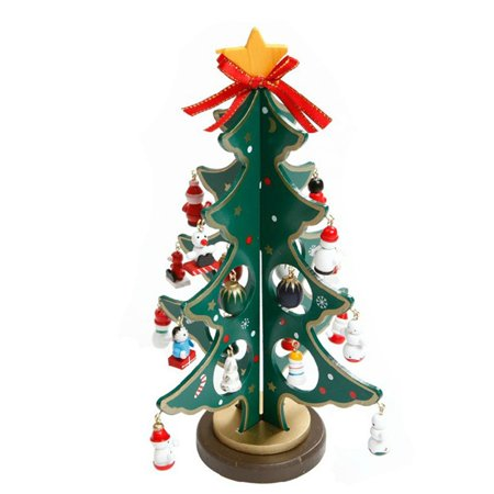 〖Follure〗Merry Christmas Decor Toy Doll Gift Home Children Kids Santa Snowman Wood Tree ()
