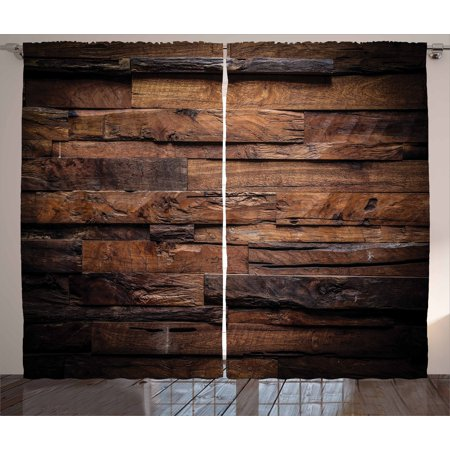 Chocolate Curtains 2 Panels Set, Rough Dark Timber Texture Image Rustic Country Theme Hardwood Carpentry, Window Drapes for Living Room Bedroom, 108W X 84L Inches, Brown Dark Brown, by Ambesonne ()