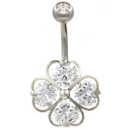 Four Heart Gemmed Lucky Shamrock Steel Belly Button Navel Ring Jewelry Non-Dangle (14G 3/8