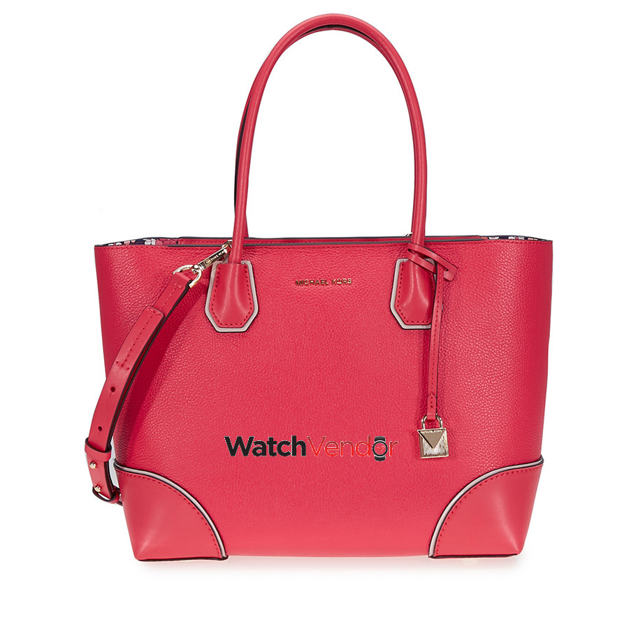 b6294bb289e3 Michael Kors Mercer Gallery Medium Leather Tote- Deep Pink