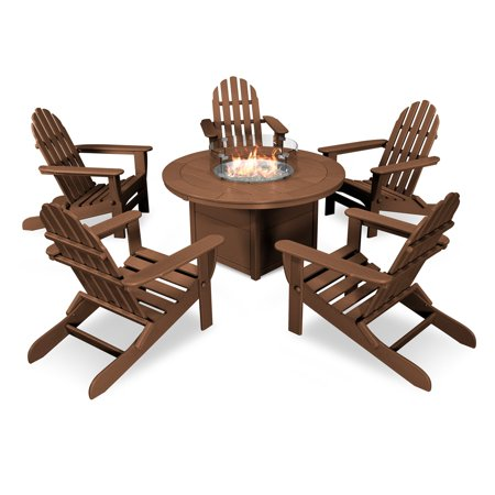 POLYWOOD Classic Folding Adirondack 6 Piece Conversation Set with Fire Pit Table ()