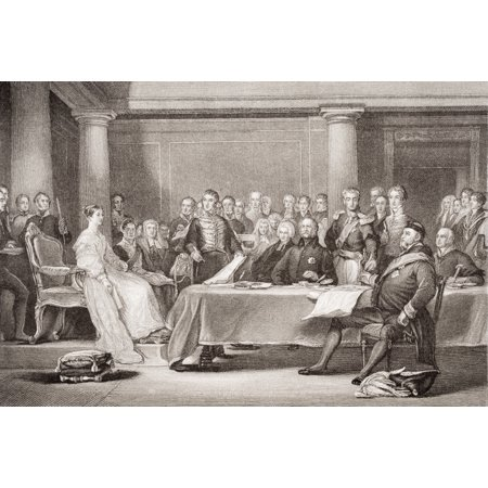 Victorias First Council Kensington Palace 21 June 1837 Engraved By F Fraenkel After Sir David WilkieFrom The Book Illustrations Of English And Scottish History Volume Ii PosterPrint