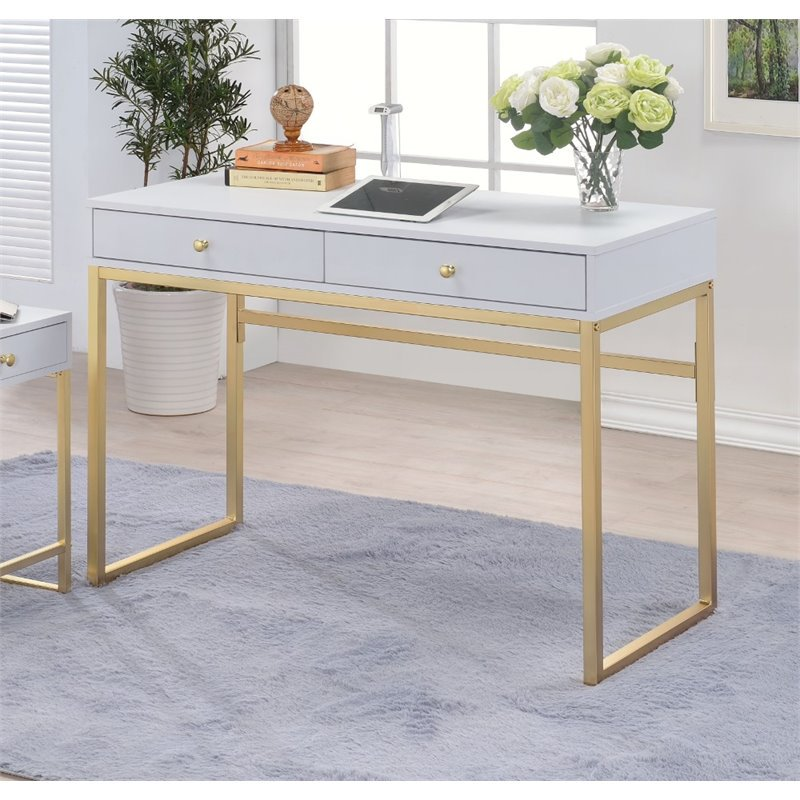 Acme Coleen Desk, White And Brass