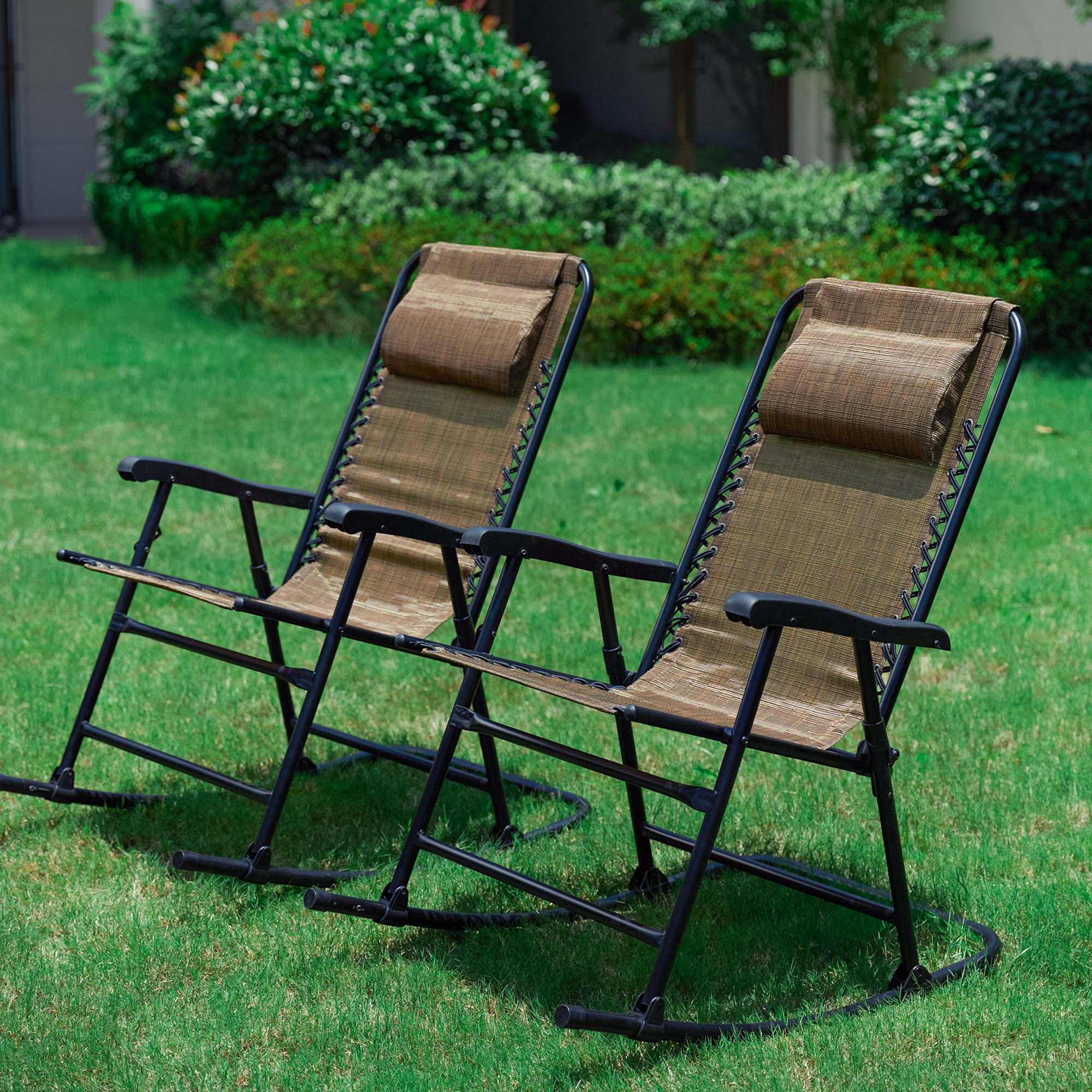 2-Piece Portable Folding Rocking Chair Set - Brown