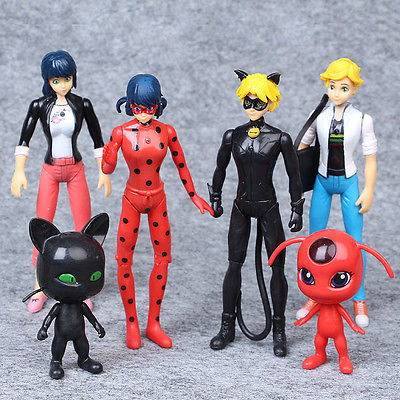 Miraculous Ladybug Tikki Noir Cat Plagg Adrien Movie Action Figures Toys 6 PCS