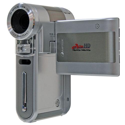 Aiptek Action Silver High-Def 1080p Digital Camcorder, 3x Optical Zoom