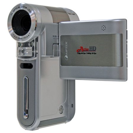 Image of Aiptek Action Silver High-Def 1080p Digital Camcorder, 3x Optical Zoom
