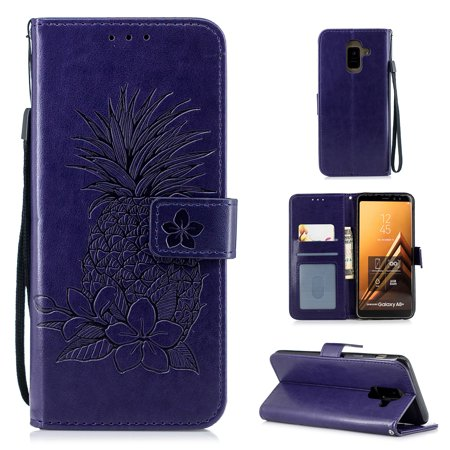 Galaxy A6 2018 Case, Allytech PU Leather Retro Pineapple Fashion Book Cover Design Folio Stand Hand Wrist Detachable Cards Slots Wallet Case Soft TPU Cover for Samsung Galaxy A6 2018, Purple - Leather Boot Covers