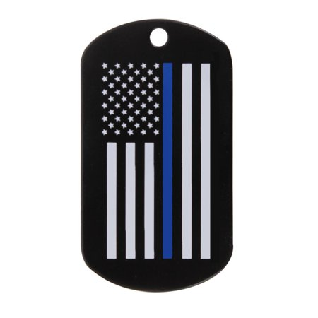 Rothco Thin Blue Line Flag Stainless Steel Dog Tag, Law Enforcement Support