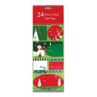 24 Christmas Gift Labels - Peel-n-Stick Holiday Gift Labels (Tree, Reindeer, Snowman)
