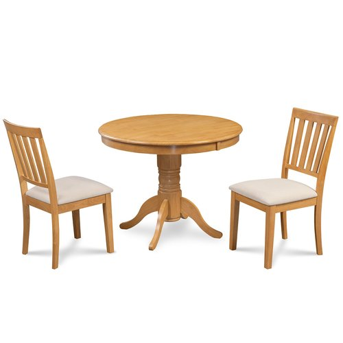 Alcott Hill Cedarville 3 Piece Carved Solid Wood Dining Set