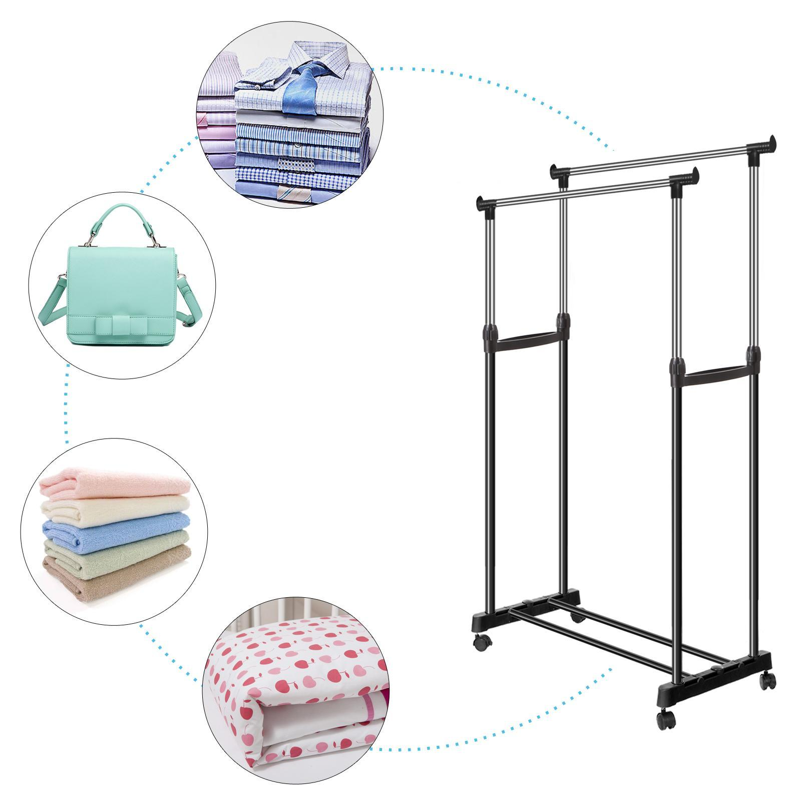 Adjustable Garment Rack Rolling Clothes Drying Rack Laundry Hanger Double Rail
