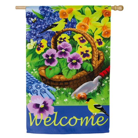 - Pansies for Planting Vertical Flag, Welcome guest to your home with this cheery, spring flag! By Evergreen Enterprises, Inc