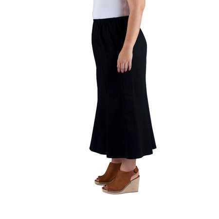 Just My Size Women's Plus-Size Stretch Mid Length Skirt