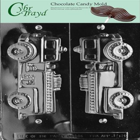 Cybrtrayd Life of the Party J058 3D Fire Truck Engine Hook & Ladder Chocolate Candy Mold in Sealed Protective Poly Bag Imprinted with Copyrighted Cybrtrayd Molding Instructions - Fire Engine Stripe