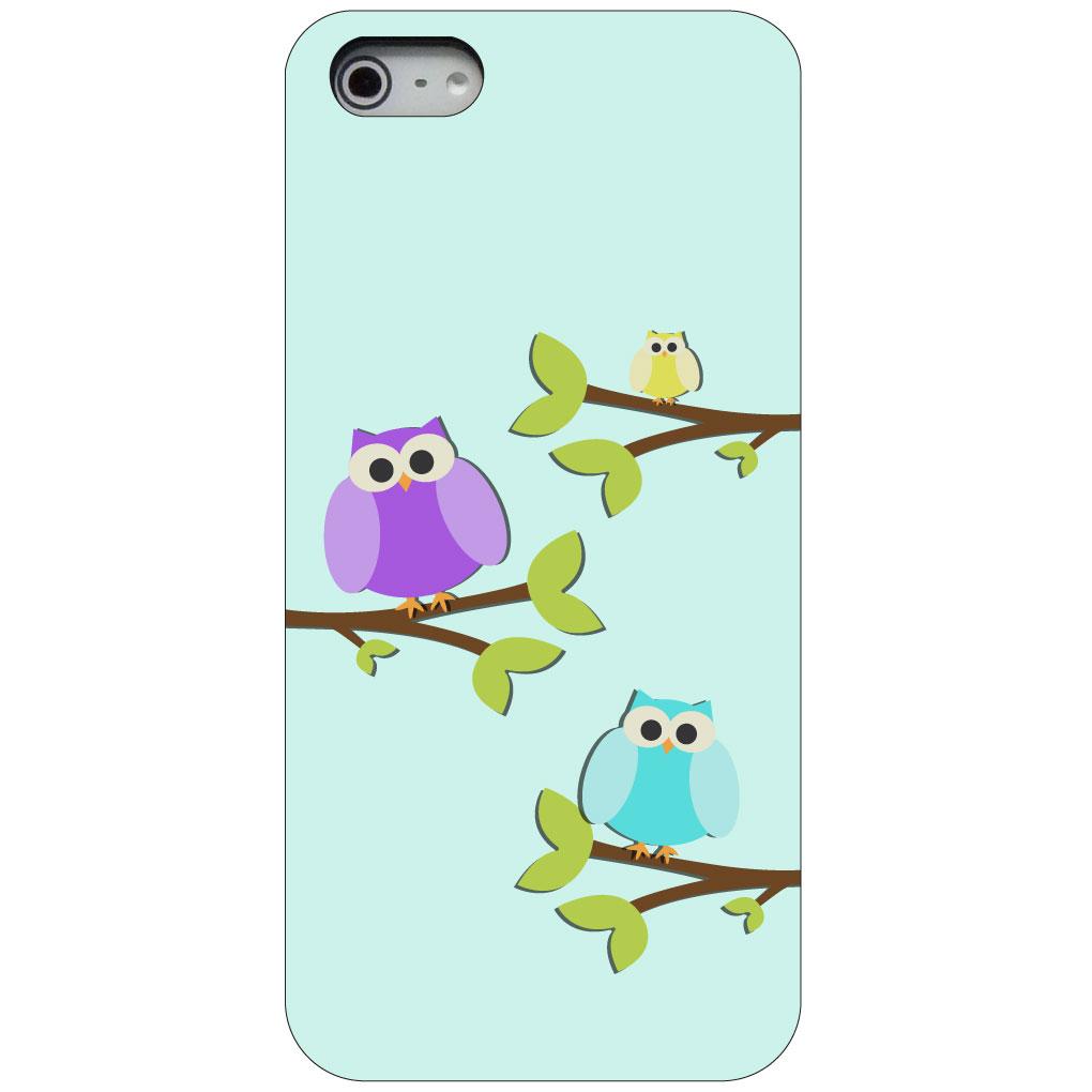 CUSTOM Black Hard Plastic Snap-On Case for Apple iPhone 5 / 5S / SE - Blue Purple Yellow Owls