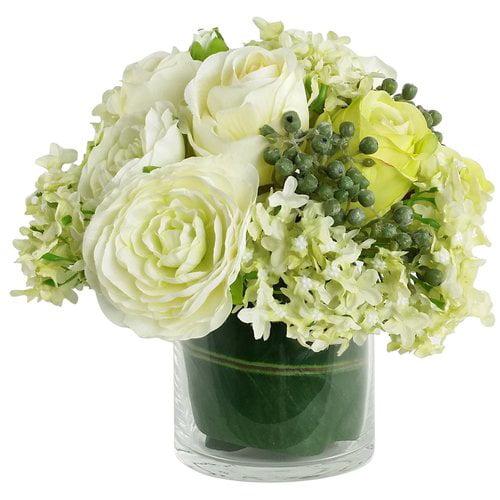 Rg Style Artificial Silk Mixed Floral Arrangements In Decorative Vase Walmart Com Walmart Com