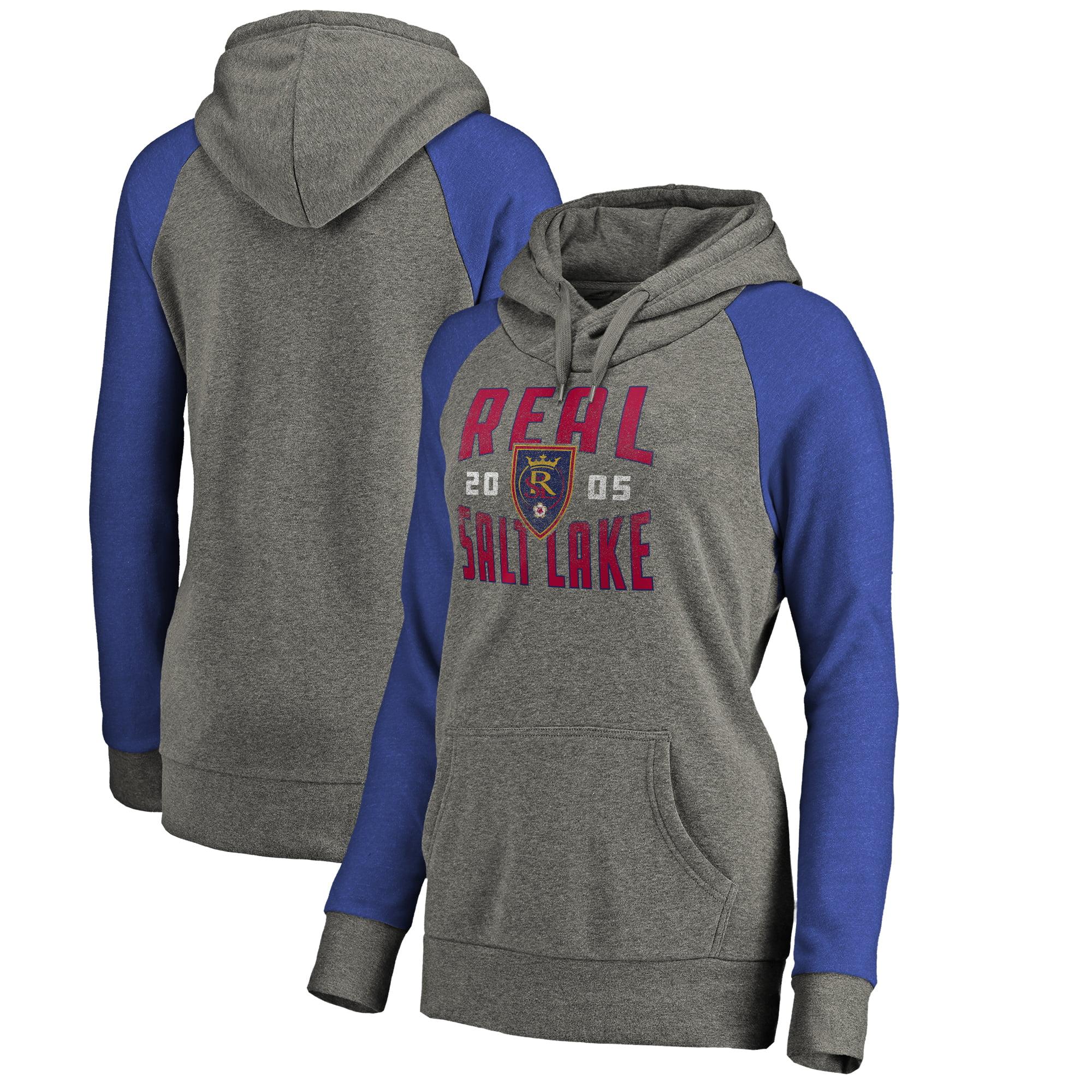 Real Salt Lake Fanatics Branded Women's Antique Stack Tri-Blend Raglan Pullover Hoodie - Heathered Gray