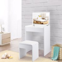 Jaxpety Vanity Table and Upholstered Bench Set with Flip Top Mirror Drawer Jewelry Cabinet White