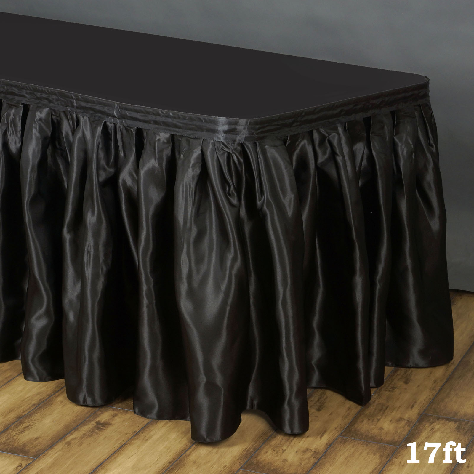 """BalsaCircle 17 feet x 29"""" Satin Pleated Banquet Table Skirt for Wedding Party Trade Show Booth Buffet Table Linens Decorations"""