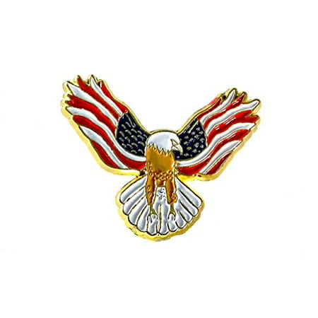 Eagle with USA Flags On Its Wings Patriotic Lapel Hat Pin PPM808 (1 pin) ()