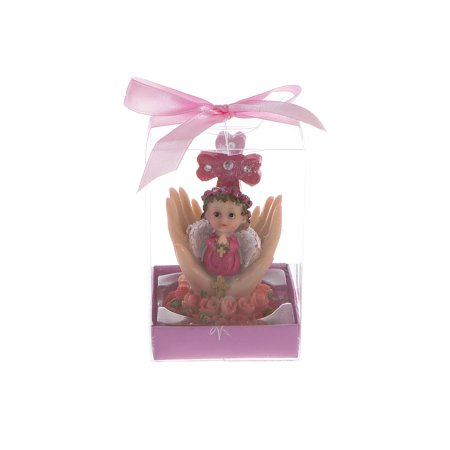 Mega Favors Keepsake Figurine 12 pcs Baby Girl Pink Angel Kneeling Praying On Palm With Cross | Awesome Decorations or Party Favors | for Baptism, First Communion, Religious and Special Celebrations](First Communion Party Decorations)