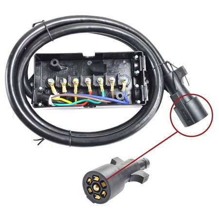 - Superior Electric RVA1566 7-Way Trailer RV Truck Cord & Plug with 7-Pole Wiring Junction Box – 8ft Cable
