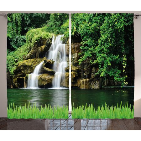- Waterfall Decor Curtains 2 Panels Set, Double Waterfalls Flow to Natural Green Lake with Bushes and Grass like Garden, Window Drapes for Living Room Bedroom, 108W X 84L Inches, Green, by Ambesonne
