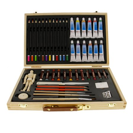 US Art Supply 46 Piece Watercolor Painting Set with Wooden Artist Storage Box - Supply Store