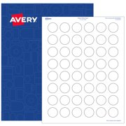 """Avery Round Labels, 1"""" diameter, White Matte, 4,800 Printable Labels"""