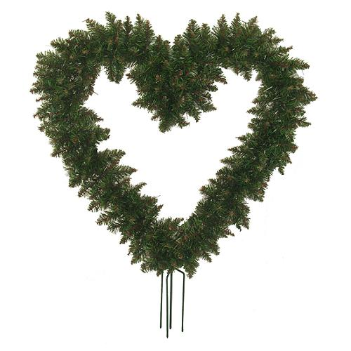 "22"" Green Pine Artificial Heart Shaped Valentines Day Wreath with Ground Stakes - Unlit"