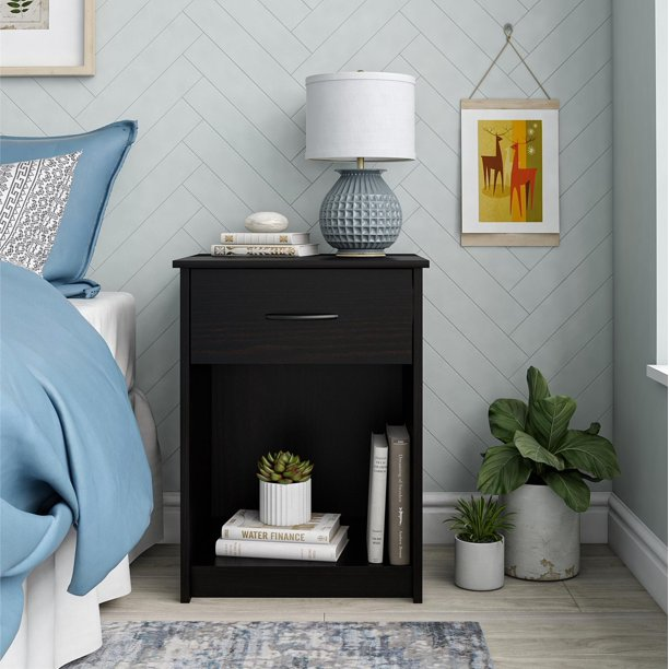 Mainstays Classic Nightstand with Drawer, Multiple Colors Available