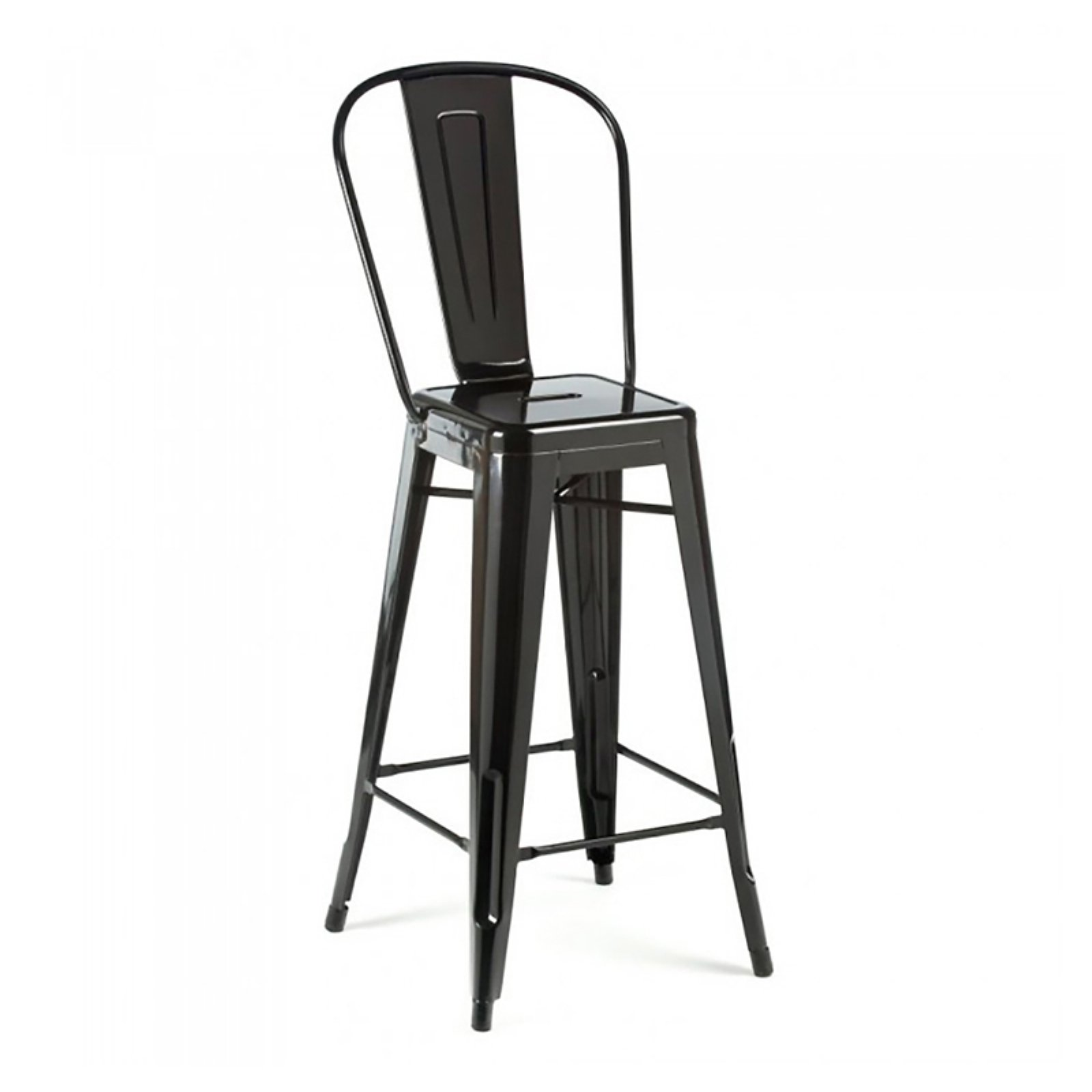 Dreux Glossy Yellow Steel High Back Barstool 30 Inch (Set of 4)