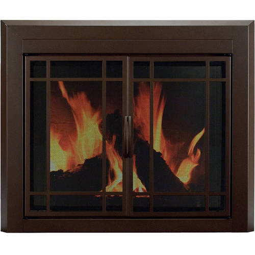 Pleasant Hearth Eaton Cabinet Prairie Style Fireplace Glass Door, Burnished Bronze, ET-5500