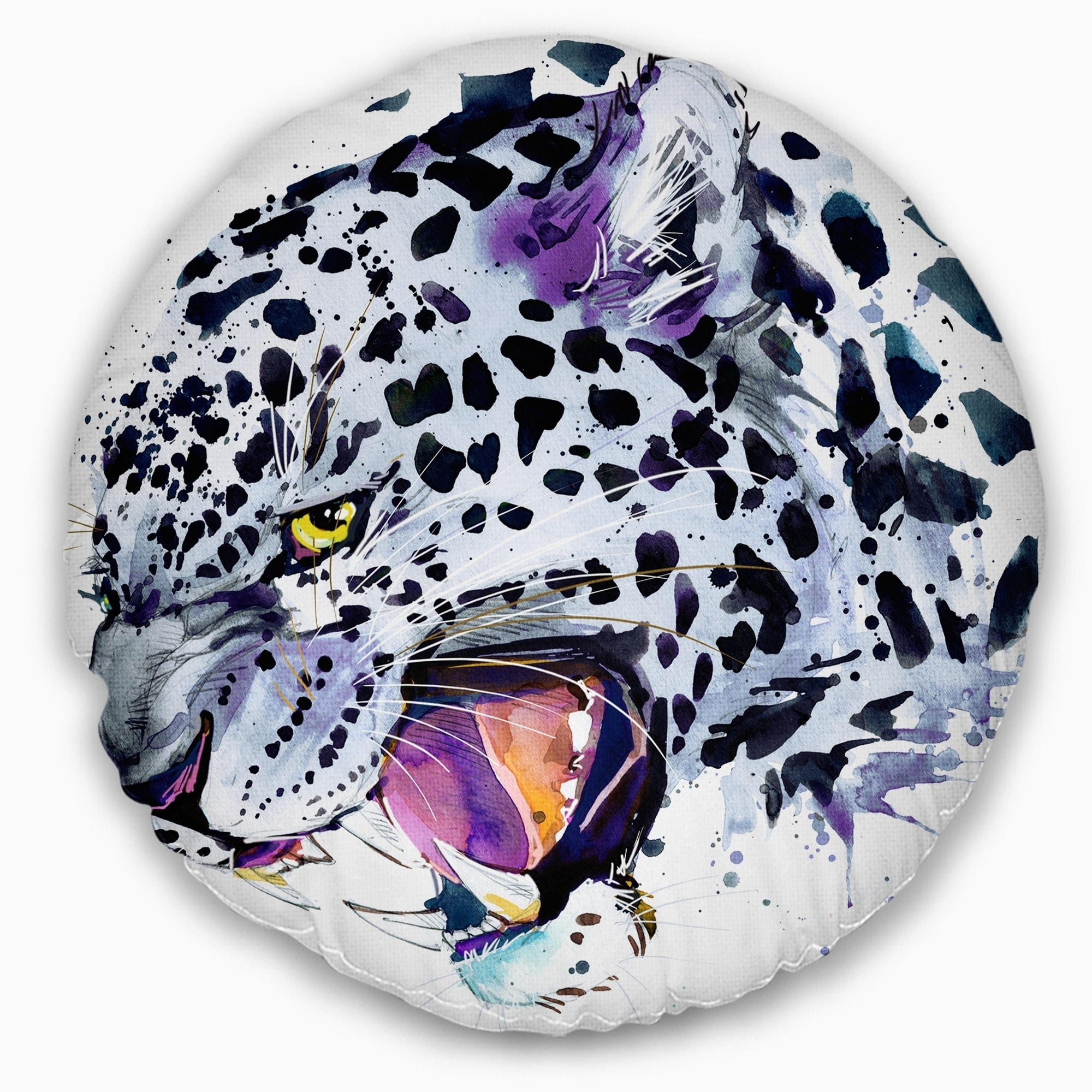 Sofa Throw Pillow 16 in x 16 in in Insert Printed On Both Side Designart CU13144-16-16 Ferocious Snow Leopard Face Animal Cushion Cover for Living Room