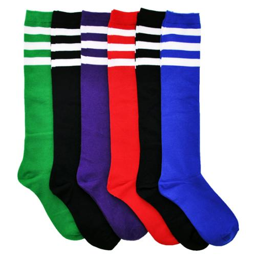 Angelina Womens w/ White Stripes Comfort Knee High Referee Socks 6 Pairs, 9-11